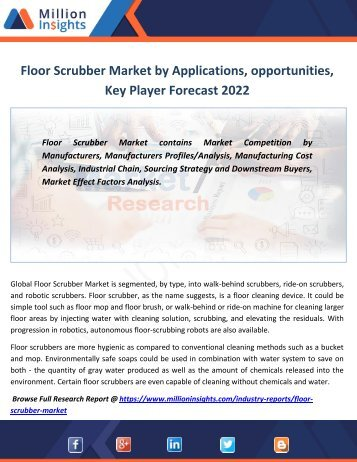 Floor Scrubber Market by Applications, opportunities,Key Player Forecast 2022