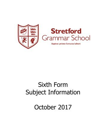 Sixth Form Subject Information 2017/2018