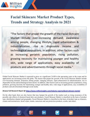 Facial Skincare Market Product Types, Trends and Strategy Analysis to 2021