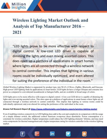 Wireless Lighting Market Outlook and Analysis of Top Manufacturer 2016 – 2021