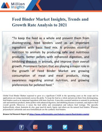 Feed Binder Market Insights, Trends and Growth Rate Analysis to 2021