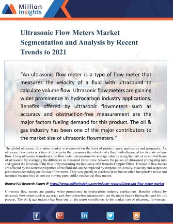 Ultrasonic Flow Meters Market Segmentation and Analysis by Recent Trends to 2021