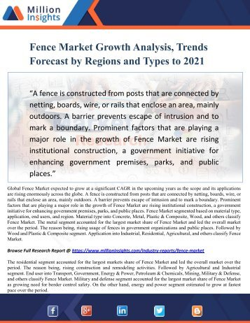 Fence Market Growth Analysis, Trends Forecast by Regions and Types to 2021