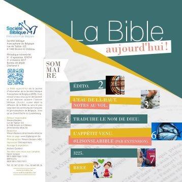 La Bible Aujourd'hui ! septembre-décembre  2017