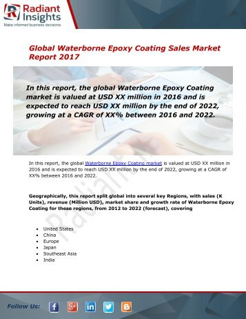 Waterborne Epoxy Coating Sales Market Size, Share, Trends, Analysis and Forecast Report to 2022:Radiant Insights, Inc