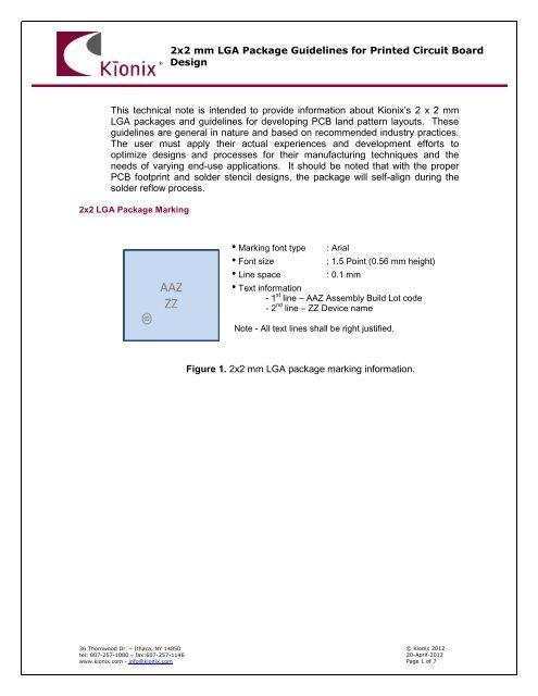 PCB Design Guidelines for 2x2 LGA Accelerometers - Kionix