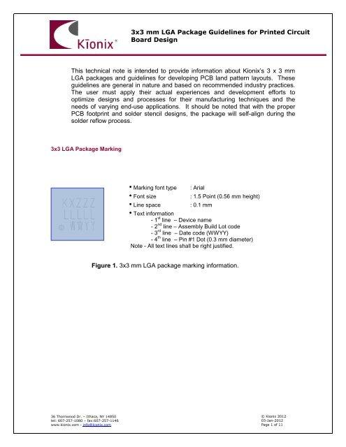 PCB Design Guidelines for 3x3 LGA Accelerometers - Kionix