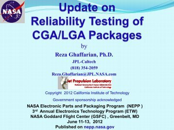 Update on Reliability Testing of CGA/LGA Packages