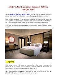 Modern And Luxurious Bedroom Interior Design Ideas