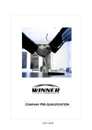3 New Winner Company Pre-Qualification 2017-2018