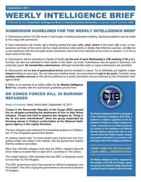 CIB Weekly Intelligence Brief Guidelines