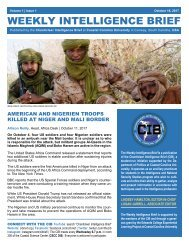 CIB Weekly Intelligence Brief | Vol. 01 | Iss. 01