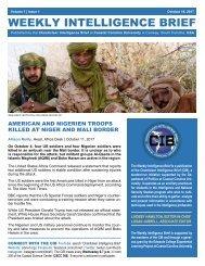 CIB Weekly Intelligence Brief | Vol. 01 | Iss. 01