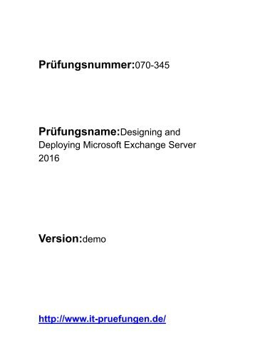 070-345 Prüfungsfragen PDF deutsch
