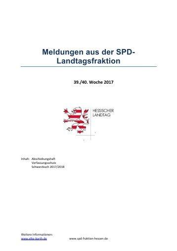 Meldungen aus der SPD-Landtagsfraktion 39./40. KW