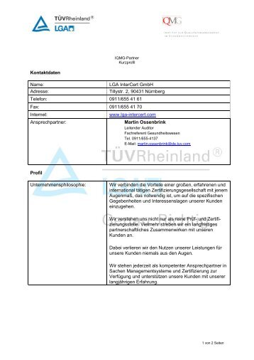 Kontaktdaten Name: LGA InterCert GmbH Adresse: Tillystr. 2, 90431 ...