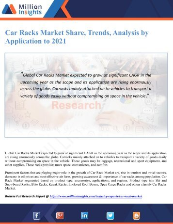 Car Racks Market Share, Trends, Analysis by Application to 2021