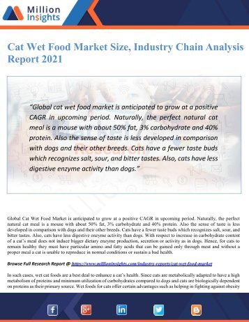 Cat Wet Food Market Size, Industry Chain Analysis Report 2021