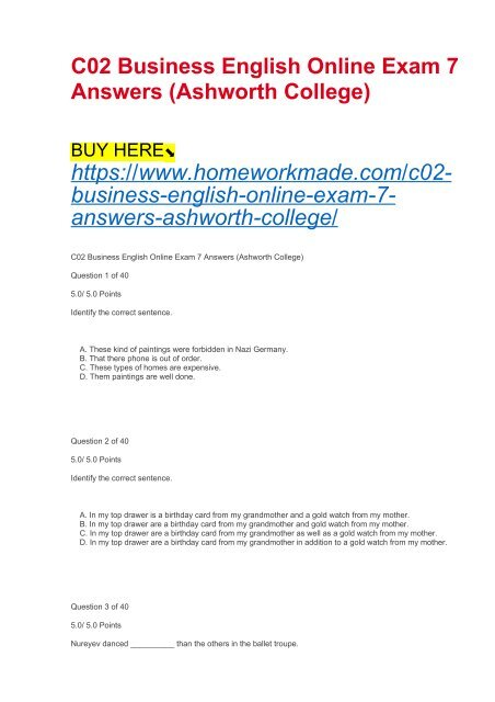 C02 Business English Online Exam 7 Answers (Ashworth College)