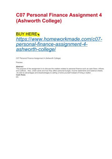 C07 Personal Finance Assignment 4 (Ashworth College)