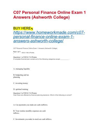 C07 Personal Finance Online Exam 1 Answers (Ashworth College)