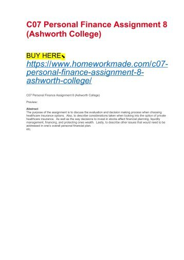C07 Personal Finance Assignment 8 (Ashworth College)