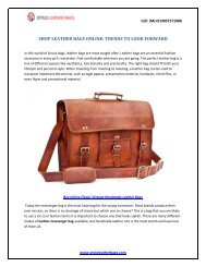 SHOP LEATHER BAGS ONLINE- TRENDS TO LOOK FORWARD