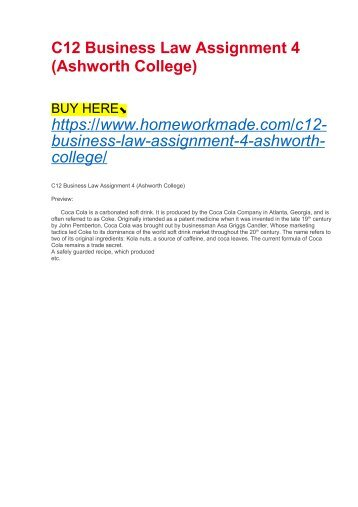 C12 Business Law Assignment 4 (Ashworth College)