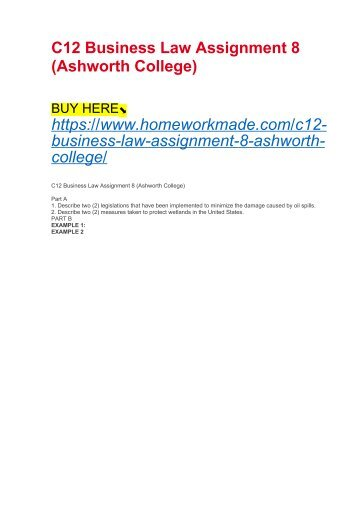 C12 Business Law Assignment 8 (Ashworth College)