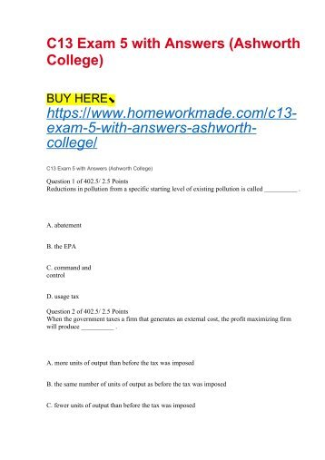 C13 Exam 5 with Answers (Ashworth College)
