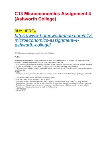 C13 Microeconomics Assignment 4 (Ashworth College)