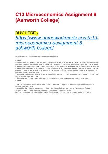 C13 Microeconomics Assignment 8 (Ashworth College)