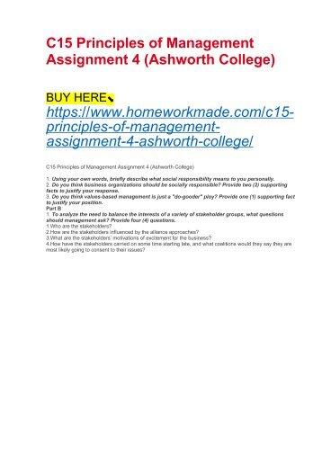 C15 Principles of Management Assignment 4 (Ashworth College)