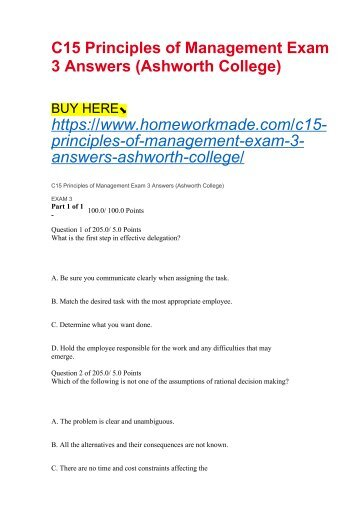 C15 Principles of Management Exam 3 Answers (Ashworth College)