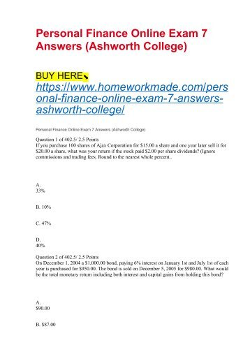 Personal Finance Online Exam 7 Answers (Ashworth College)