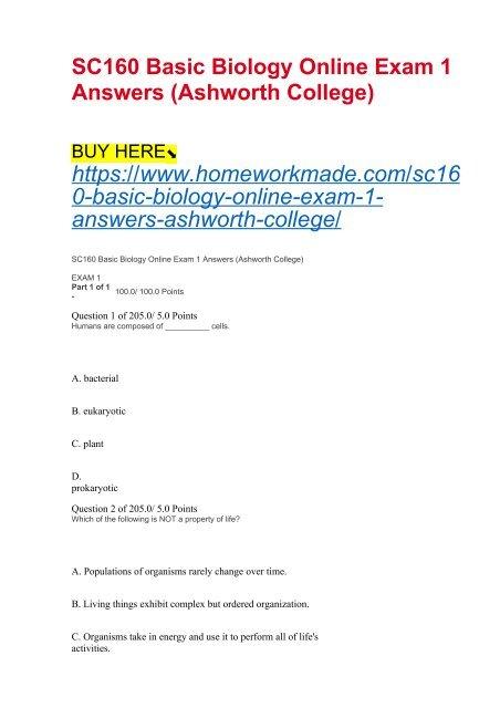 SC160 Basic Biology Online Exam 1 Answers (Ashworth College)