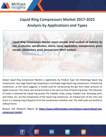 Liquid Ring Compressors Market 2017-2022 Analysis by Applications and Types