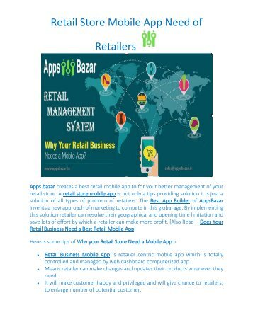 Retail Store Mobile App Need of Retailers