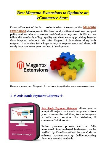 Best Magento Extensions to Optimize an eCommerce Store