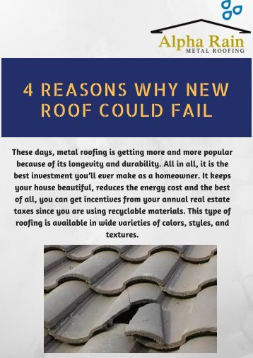 4 Reasons Why New Roof Could Fail