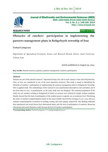 Obstacles of ranchers` participation in implementing the pastures management plans in Kohgeloyeh township of Iran