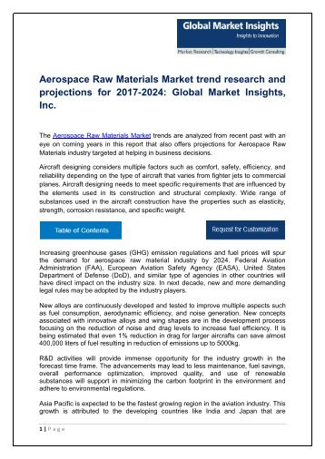 Aerospace Raw Materials Market analysis research and trends report for 2017-2024