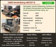 Buy Used 1989 MOZP-S Heidelberg Printing Presses Offset Machine
