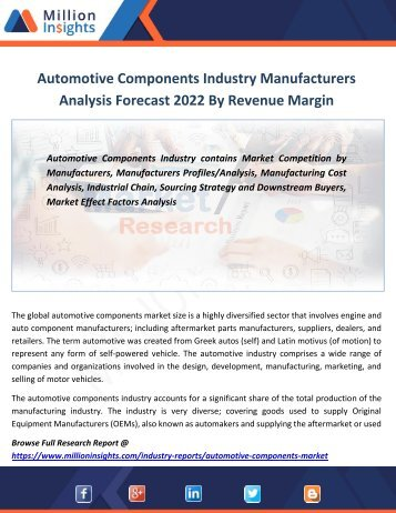 Automotive Components Industry Manufacturers Analysis Forecast 2022 By Revenue Margin