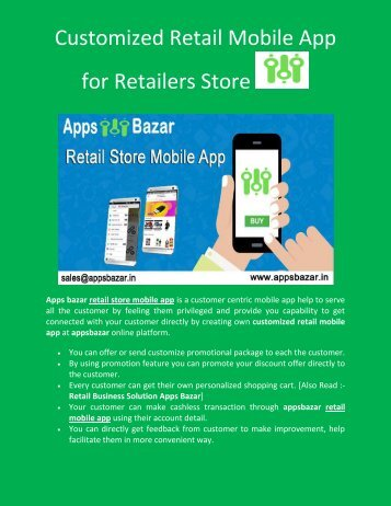Customized Retail Mobile App for Retailers Store