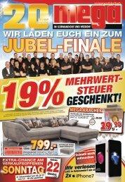 Mega Möbel in Schwandorf+Weiden: Jubel-Finale! 19% Mehrwertsteuer geschenkt!