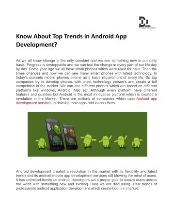 Know About Top Trends in Android App Development