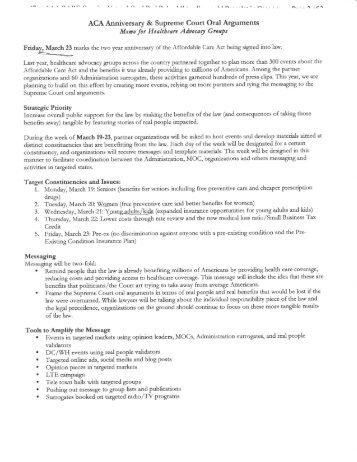 White House Briefing Documents - Strategic Health Care
