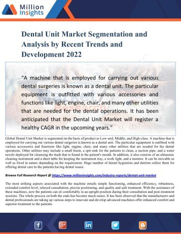 Dental Unit Market Segmentation and Analysis by Recent Trends and Development 2022