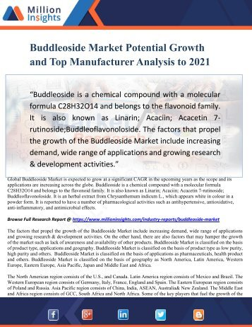 Buddleoside Market Potential Growth and Top Manufacturer Analysis to 2021
